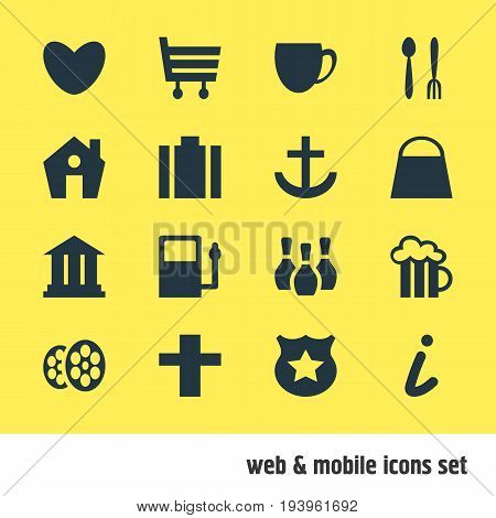 Vector Illustration Of 16 Check-In Icons. Editable Pack Of Coffee Shop, Refueling, Heart And Other Elements.