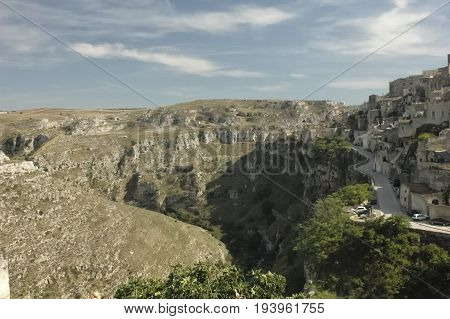 View of Gravina the canyon of Matera