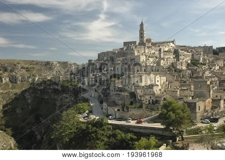 View of Matera and the canyon called Gravina