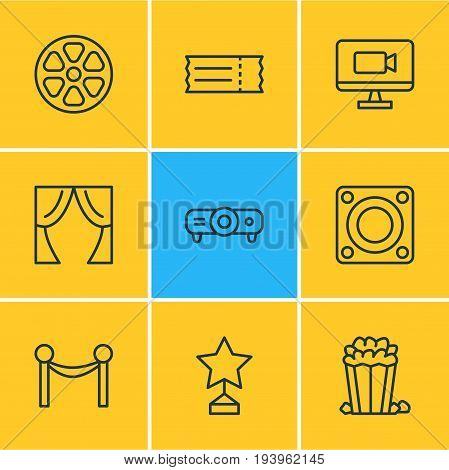 Vector Illustration Of 9 Cinema Icons. Editable Pack Of Television, Reward, Cinema Fence And Other Elements.