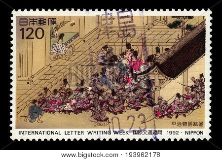 JAPAN - CIRCA 1992: A stamp printed in Japan shows group of warriors from heiji story, international letter-writing week, circa 1992