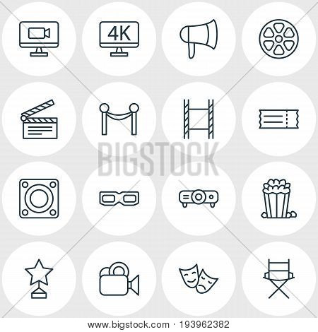 Vector Illustration Of 16 Film Icons. Editable Pack Of Reward, Clapper, Television And Other Elements.
