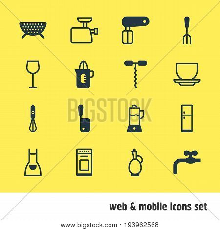 Vector Illustration Of 16 Cooking Icons. Editable Pack Of Fork, Faucet, Mincer And Other Elements.