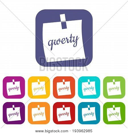 Paper sheet with text qwerty icons set vector illustration in flat style In colors red, blue, green and other