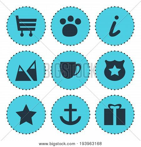 Vector Illustration Of 9 Check-In Icons. Editable Pack Of Bookmark, Present, Shopping Cart And Other Elements.