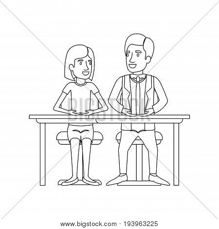 monochrome silhouette of teamwork of woman and man sitting in desk and her with short hair and him in formal suit with necktie vector illustration