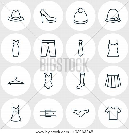 Vector Illustration Of 16 Dress Icons. Editable Pack Of Panama, Strap, Casual And Other Elements.