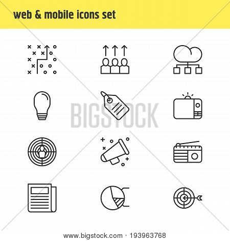 Vector Illustration Of 12 Marketing Icons. Editable Pack Of Circle Diagram, Discount Label, Television And Other Elements.