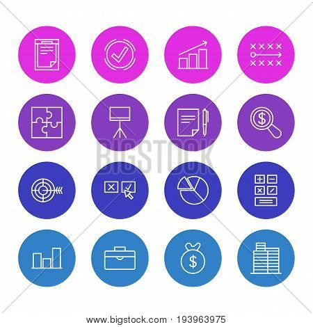 Vector Illustration Of 16 Management Icons. Editable Pack Of Chart , Board Stand, Riddle Elements.