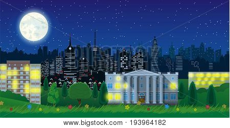 Modern city view in night. Cityscape with office and residental buildings, city park with trees and flowers, sky, moon and stars. Vector illustration in flat style