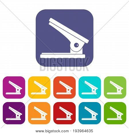 Office paper hole puncher icons set vector illustration in flat style In colors red, blue, green and other