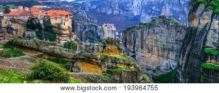 Landmarks of Greece - unique Meteora with hanging monasteries ov