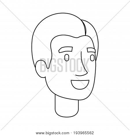 monochrome silhouette of man face with short hair and fringe to left side vector illustration