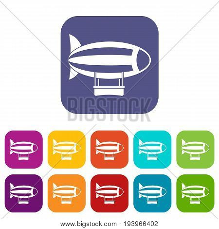 Striped dirigible icons set vector illustration in flat style In colors red, blue, green and other