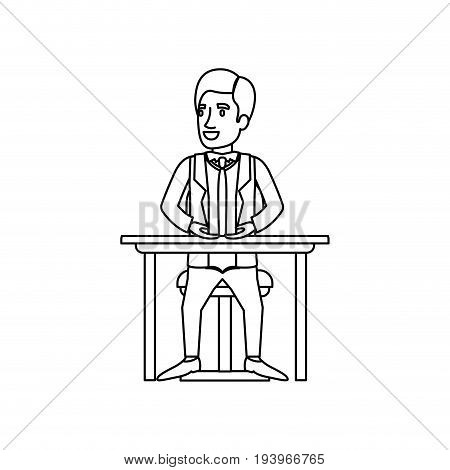monochrome silhouette of man with formal clothes and necktie and sitting in chair in desktop vector illustration