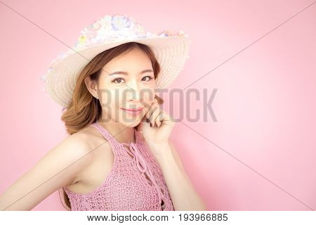 Beautiful Korea Woman Posing At Pink Background With Summer Concept, Isolated On Pink Background, 20
