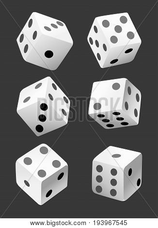 Vector Illustration Of White Dice With Double Six Roll. No Gradients Or Effects. Web Site Page And M