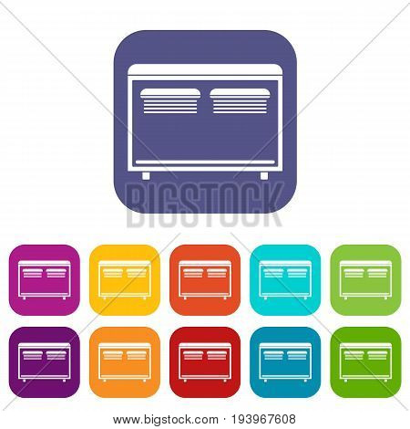 Home equipment for heating icons set vector illustration in flat style In colors red, blue, green and other
