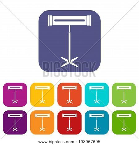 Electric heater icons set vector illustration in flat style In colors red, blue, green and other