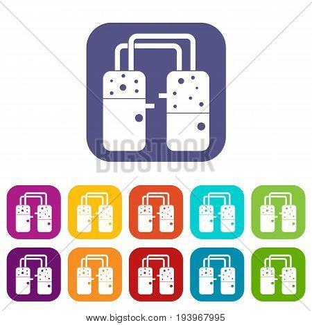 Containers connected with tubes icons set vector illustration in flat style In colors red, blue, green and other