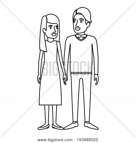 monochrome silhouette of man and woman standing and her with long hair straight and him in formal clothes and hair side fringe