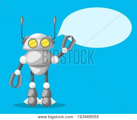 Friendly Android Robot Character With Two Antennas Cartoon Illustration Flat Design, Vector Illustra
