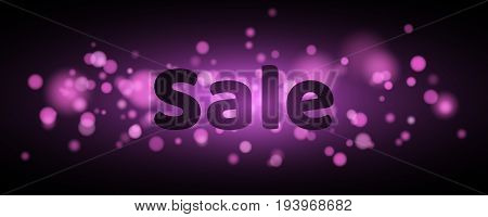 Sale. Text with highlighting. Violet flare bokeh in motion. Celebratory background with purple lights. Footage for the photo. Vector illustration
