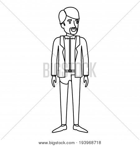 monochrome silhouette of man stand with van dyke beard in casual clothes vector illustration