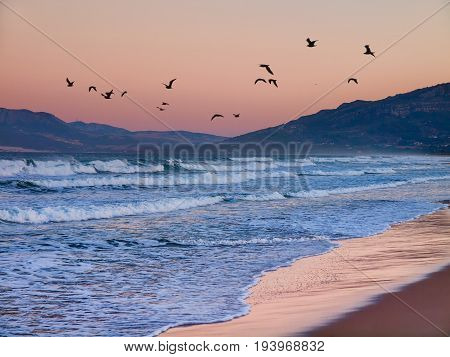 Moring Dawn at the Beach los Lances Tarifa Andalusia Spain Europe. Tarifa is a famous tourist destination