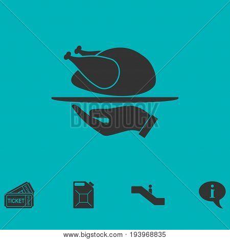 Roasted turkey icon flat. Simple vector symbol and bonus icon
