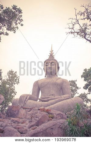 Thailand Loie 11 june 2017 Big buddha statue among nature built on a high hilltop of loie Thailand classic style