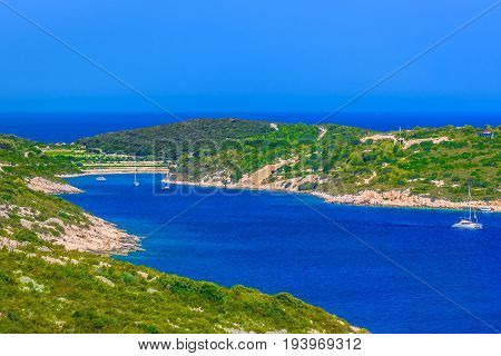 Aerial scenic view at marble coast at island Vis, southern Croatia, Mediterranean.