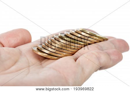 hand holding golden coins with white background
