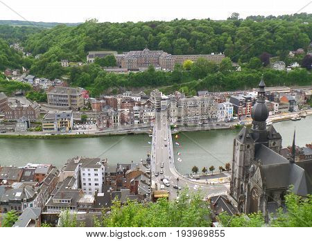 Church of Our Lady and the Townscape as seen from Citadel of Dinant, Wallonia Region, Belgium