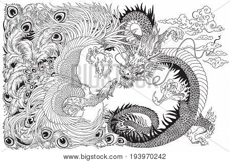 Chinese dragon and phoenix feng huang playing with a pearl ball . Black and white vector illustration