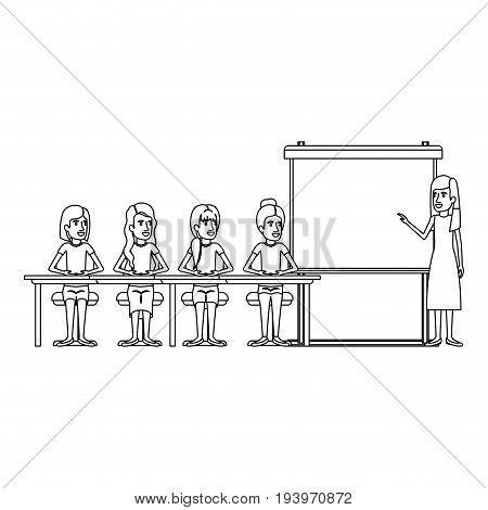 monochrome background with women group sitting in a desk for executive female in presentacion business people vector illustration