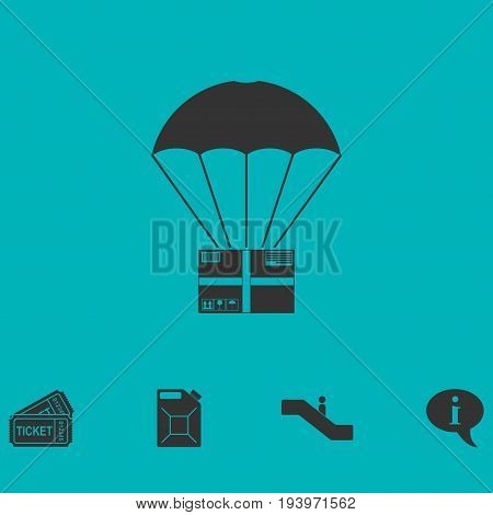 Aerial post delivery icon flat. Simple vector symbol and bonus icon