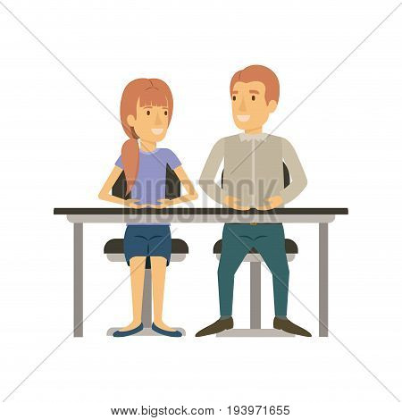 colorful silhouette of teamwork of woman and man sitting in desk and her with ponytail hairstyle and him in casual clothes vector illustration