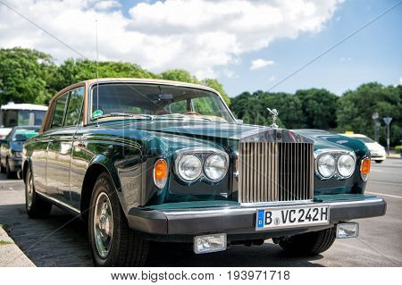 Berlin. Germany-May 31 2017: Front view of Exclusive Luxury green Rolls Royce Silver shadow II car limousine parked in city