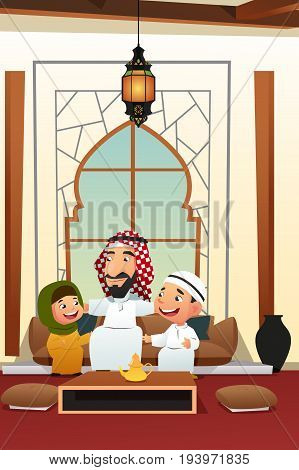 A vector illustration of Muslim Arabian Man with His Children