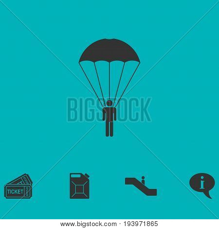 Parachutist icon flat. Simple vector symbol and bonus icon