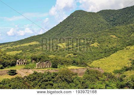 Ruins of Brimstone Hill Fortress on the island of St. Kitts