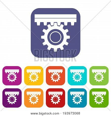 One gear icons set vector illustration in flat style In colors red, blue, green and other