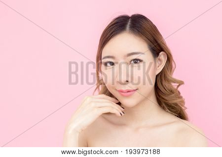 Closeup Beautiful Korea Woman Face, Isolated On Pink Background, 20-30 Year Old.