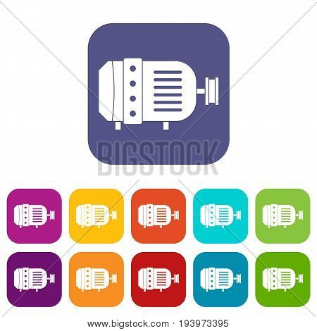 Electric motor icons set vector illustration in flat style In colors red, blue, green and other