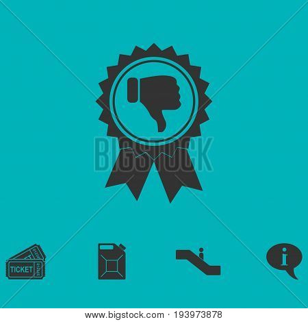 Not recommended award icon flat. Simple vector symbol and bonus icon