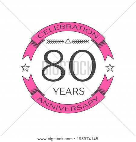 Realistic eighty years anniversary celebration logo with ring and ribbon on white background. Vector template for your design