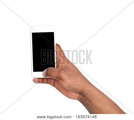 Man taking picture using smart phone. Black hand holding smartphone and shooting photo, isolated on white