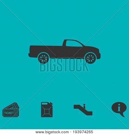 Pickup truck icon flat. Simple vector symbol and bonus icon