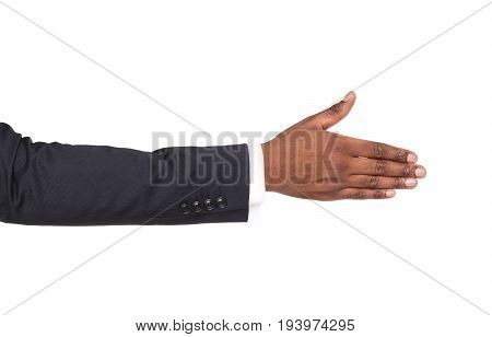 Hand ready for handshake isolated on white background. African american businessman inviting by open palm, greeting concept